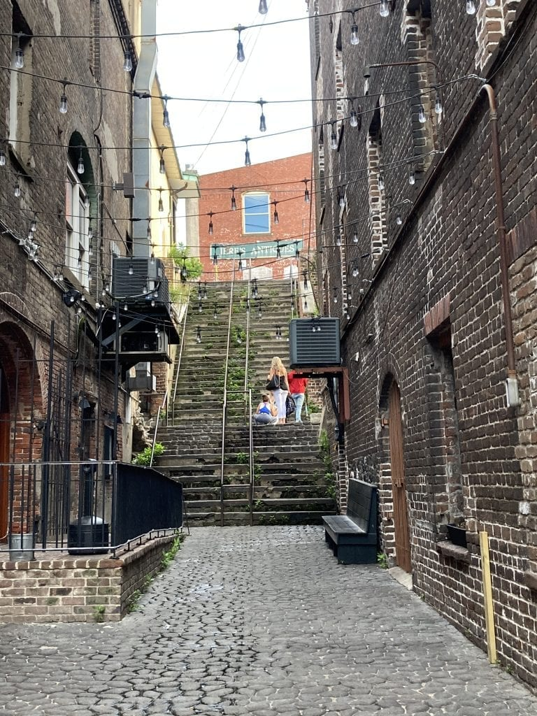 A walk down Savannah's historic steps to get to River Street