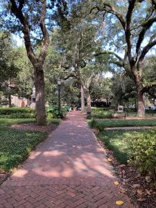 Walking through one of Savannah's historic public squares