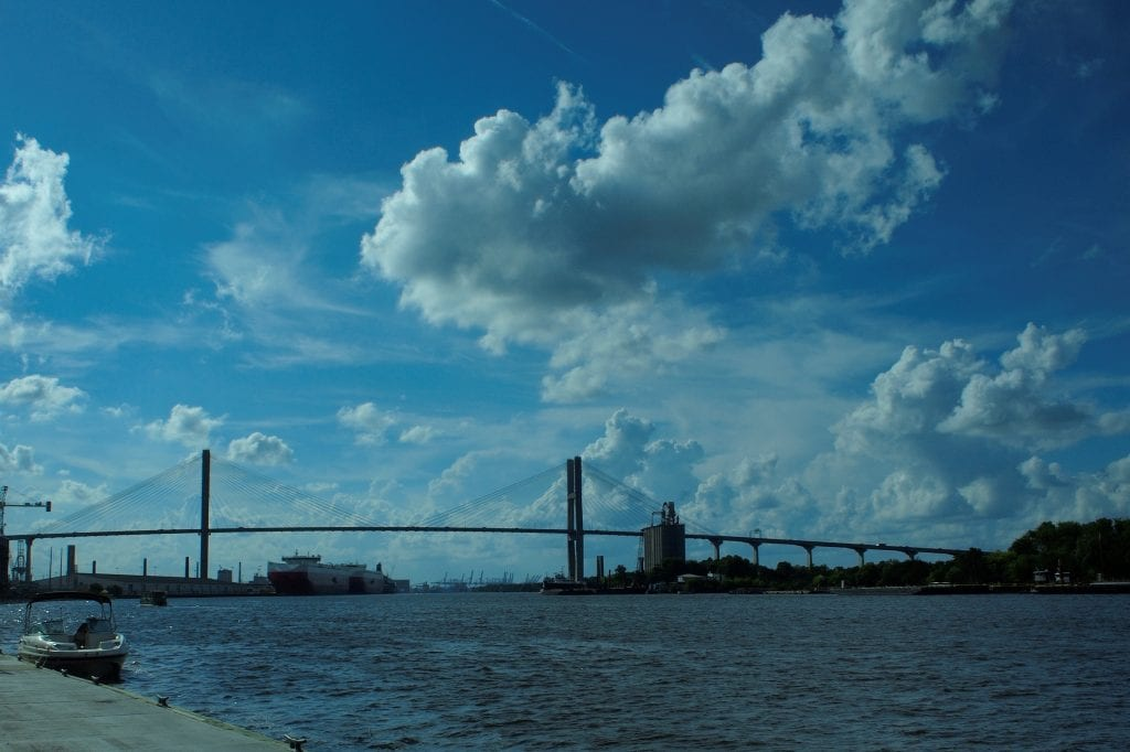 An afternoon walk along River Street with a view of the Savannah River and Talmadge Memorial Bridge