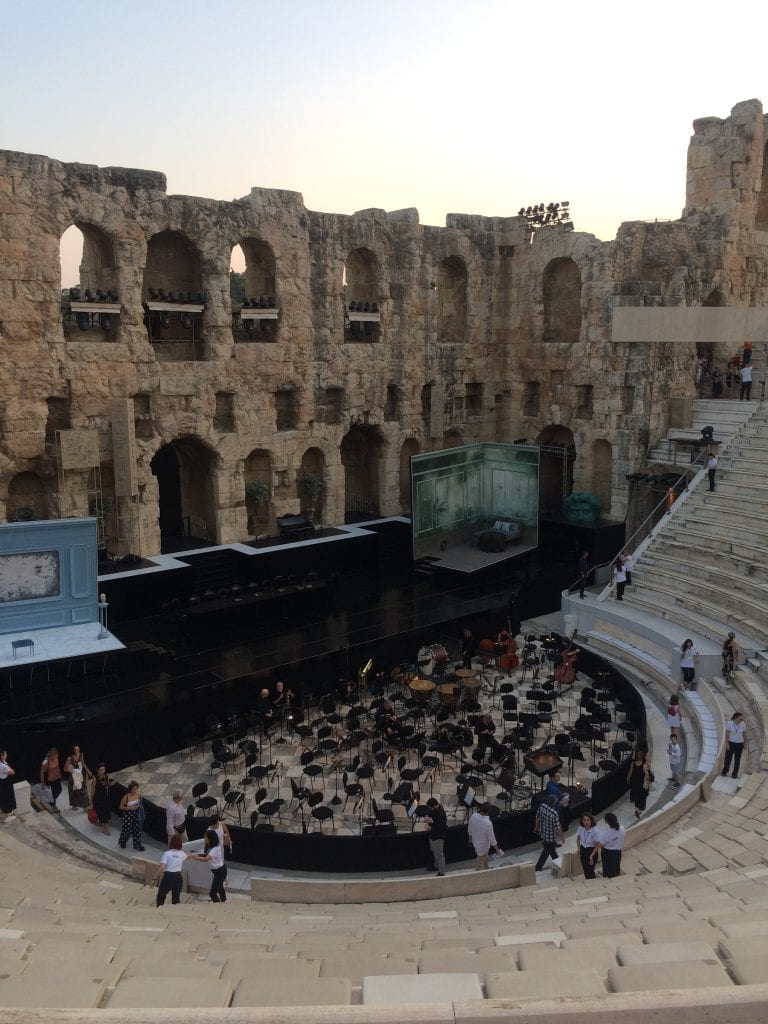 Setting up for a night of opera at the Odeon of Herodes Atticus, Athens, Greece