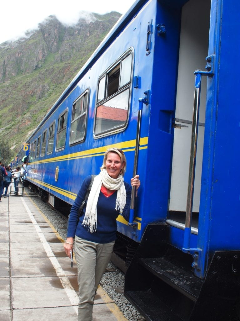 Getting on to the iconic blue train from Ollanta to Aguas Calientes, Peru, one of the top travel experiences in itself.