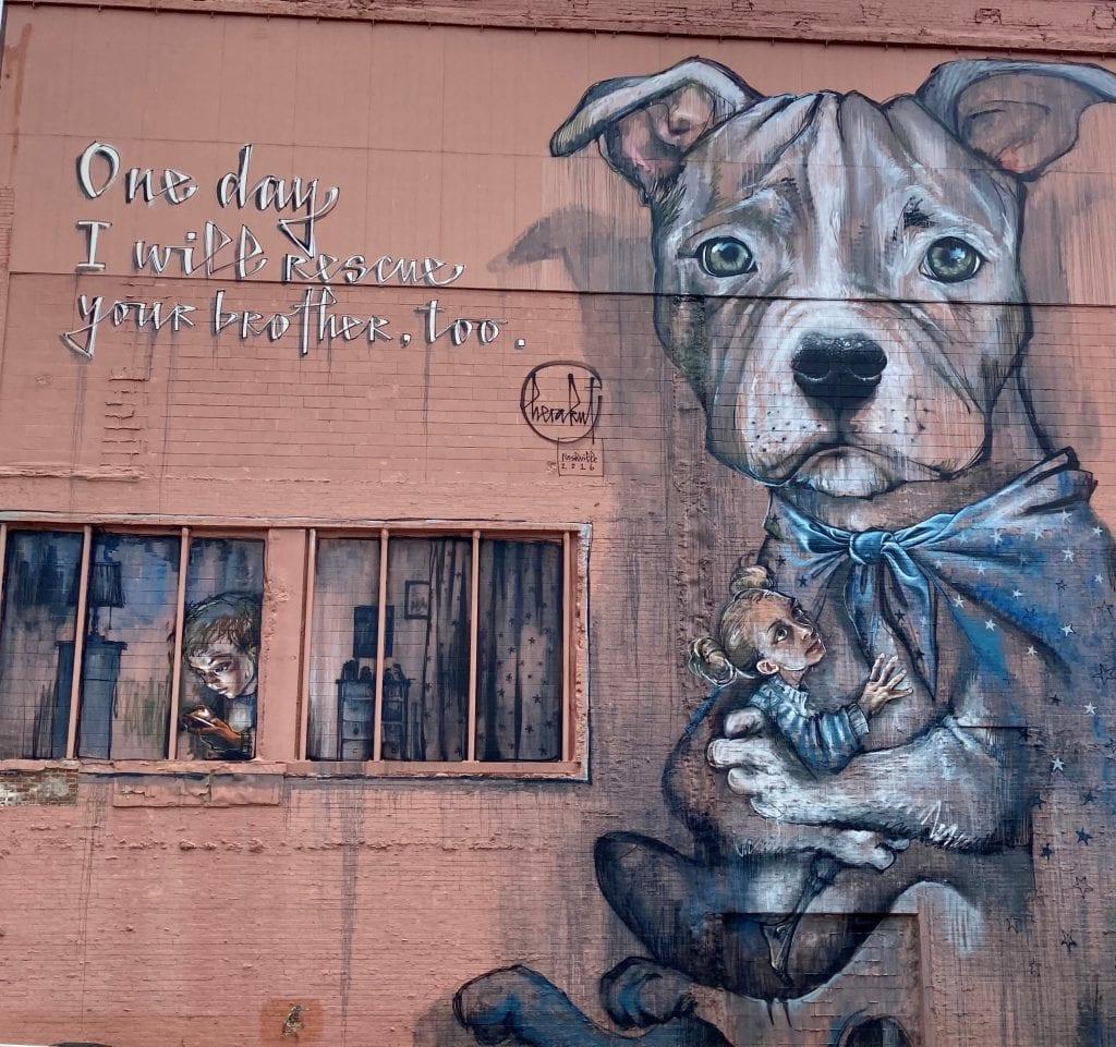 Street mural of a dog as a superhero, 6th and Church, Nashville