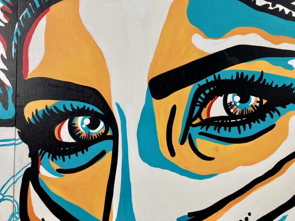 Expressive eyes mural at the Gulch, Nashville