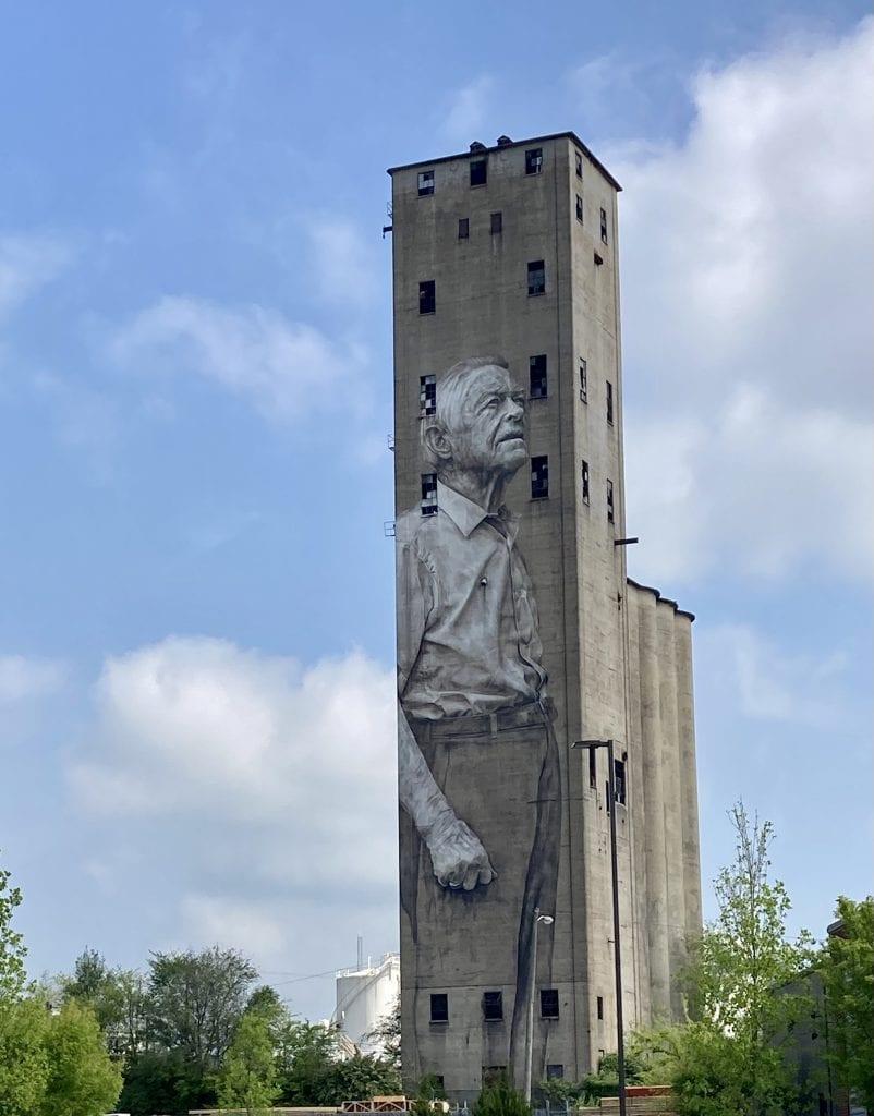 Mural of an old man on an industrial site, the Nations neighbourhood, Nashville