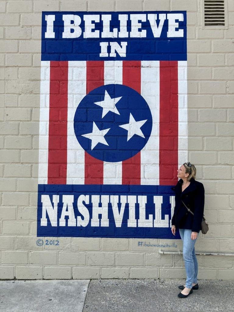 'I believe in Nashville' mural in the 12 South neighbourhood, Nashville