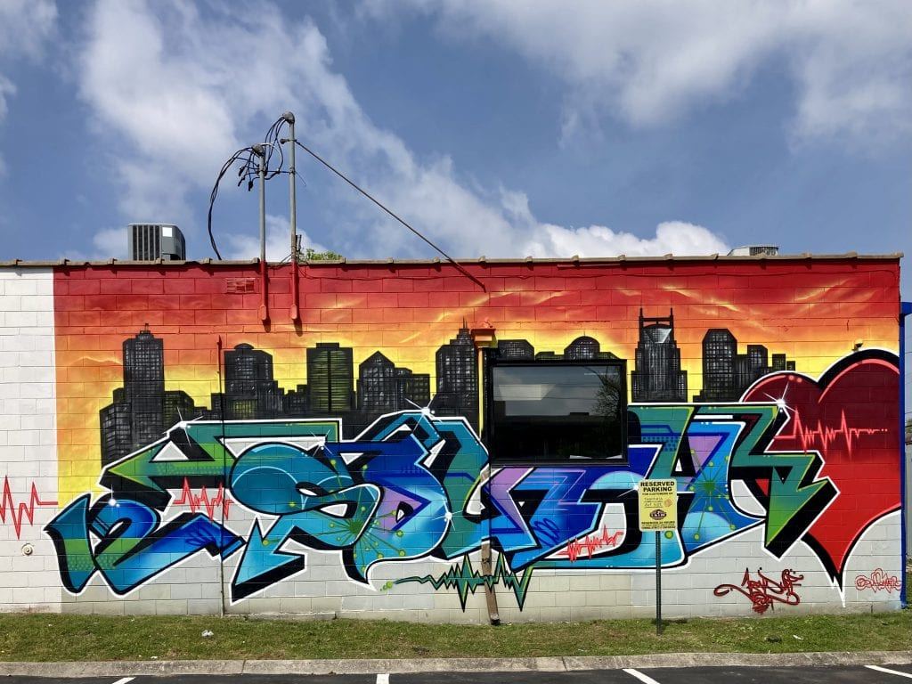 Colourful cityscape mural in the 12 South neighbourhood, Nashville